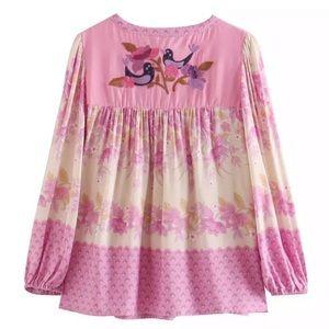 LAST ONE SALE Beautiful pink peasant blouse